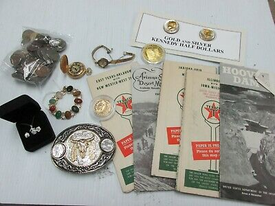 Junk Drawer Lot - Vintage Belt Buckles Maps Jewelry Coins Medals A2