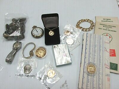 Junk Drawer Lot - Vintage Watches Maps Jewelry Coins Medals A1