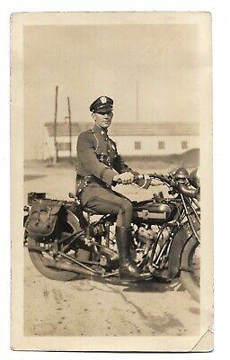 Motorcycle Patrol Police Siren Vintage Bike Saddle Bags Cop Uniform Photo