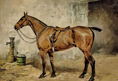 Dream-art Oil painting john emms - mallow horse in stable free shipping canvas