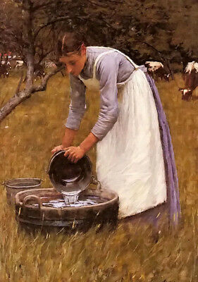 Dream-art oil painting henry herbert la thangue - watering the cows girl working