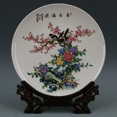 Chinese ancient antique hand make Pastel  Flower and Bird Patterns plates