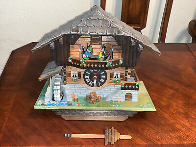 German Black Forest Musical Cuckoo Clock with Dancers and Waterwheel