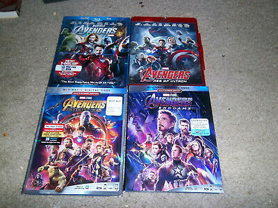 Avengers 1,2,3,4 Set: Age of Ultron,Infinity War, Endgame(Blu-ray Lot)NO DIgital