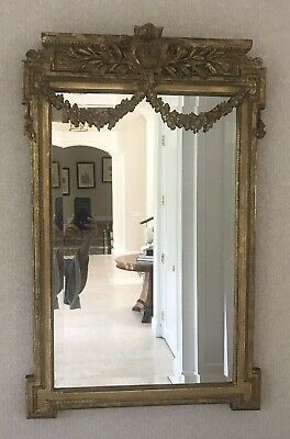 Antique French Louis XVI  Gold Leaf Mirror 38in X 24 In