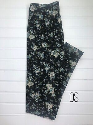 LuLaRoe One Size OS Leggings ~ Black With Blue, Green & Cream Floral Print ~ NWT