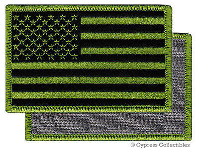AMERICAN FLAG BIKER PATCH GREEN RIGHT embroidered USA w/ VELCRO® Brand Fastener