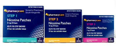 Pharmacy Care Nicotine Patches 7-21mg Step 1-3 Entire Quit Now Program Bundle