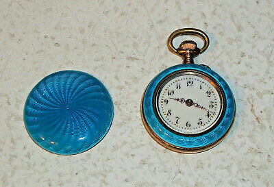 Swiss Guilloche Ladies Pocket Watch 800 Silver - 8 Jewels Porcelain Face - WORKS