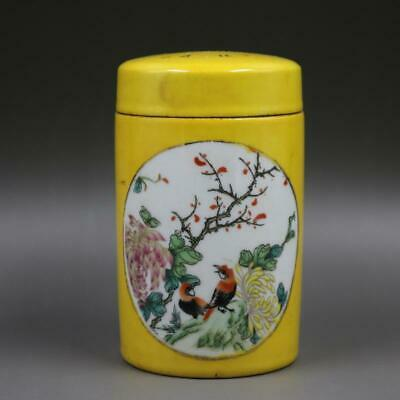Chinese ancient antique hand make Flower and Bird Tea Cans 34
