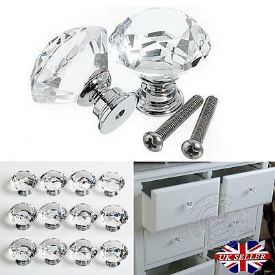 16/24 Diamond Crystal Glass Door Cabinet Cupboard Drawer Handle Pull Knob