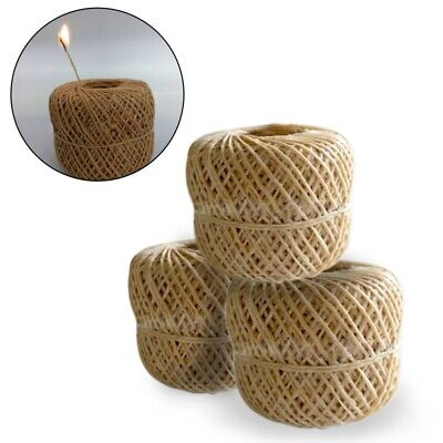 60M / 200ft Rope Hemp Wick Natural Unbleached Hemp and Beeswax Roll DIY Craft