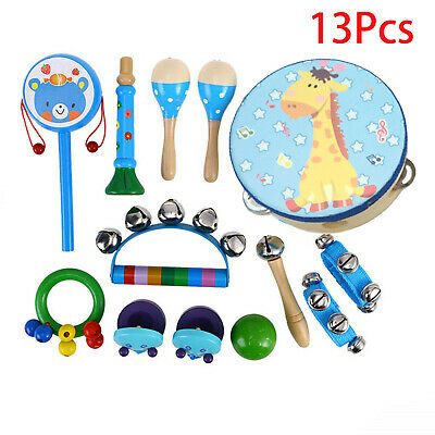 13x Wooden Kids Baby Musical Instruments Set Toys Children Toddlers Percussion