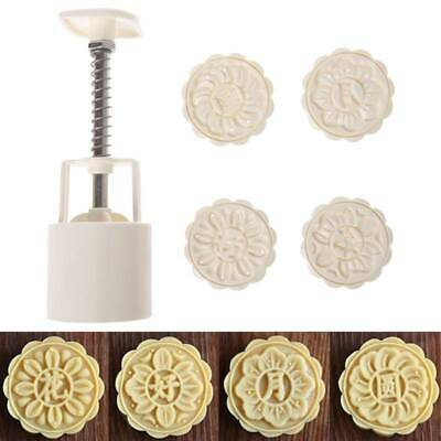 4 Flower Stamps Moon Cake Mould 3D Round Mooncake Mold Baking Decor Tool 50g DIY