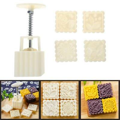 4 Flower Stamps Moon Cake Decor Mould Pastry Square Mooncake Mold Tool 75g DIY