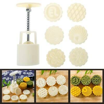 6 Flower Stamps Moon Cake Mould Round Mooncake Mold Baking Decor Tool 63g DIY