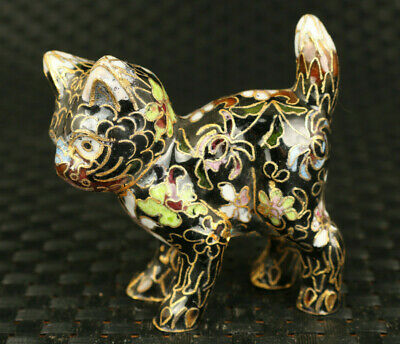 chinese old cloisonne Handcarved lovely cat statue netsuke gift decoration