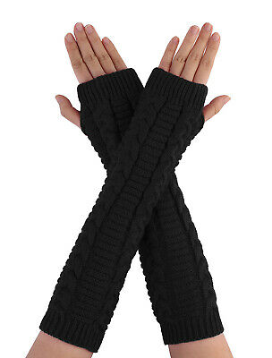 Unisex Thumbhole Half-Finger Cable Knit Knitted Gloves Black 1 Pair