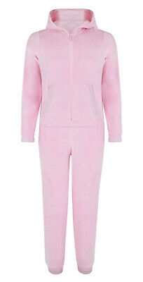 Girls Onezee Pink Hooded Ex Uk Store Super Soft Velour All In One Pyjamas 6-13Y