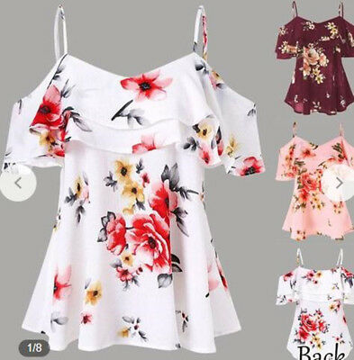 Summer Women Loose Casual Off Shoulder Floral Printed Shirt Tops Blouse Sun-Top