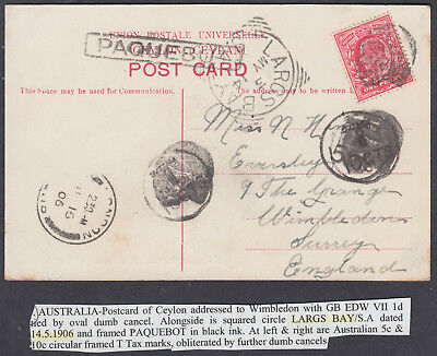1906 KEVII GB Used Abroad; Largs Bay/Paqubot/Dumb Navy Cancels: England