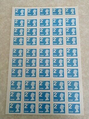 Genuine Uk Postage Stamps 25 X  2Nd Class Large. Brand New On Sheet Free P&P