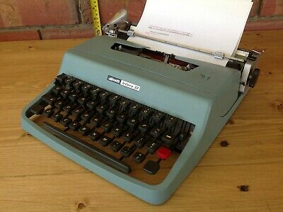 Vintage Blue Olivetti Lettera 32 Portable Typewriter In Case,  Collectable