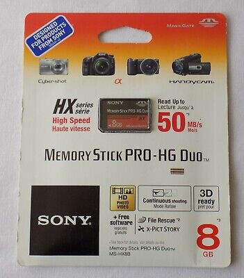 SONY MEMORY STICK HX SERIES. HIGH SPEED.PRO HG DUO.50 MB/s. 8 GB. 3D READY.NEW