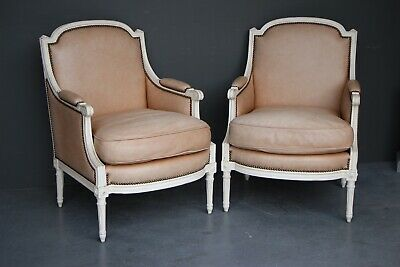 Pair carved antique French Louis XVI bergere armchairs large proportions leather