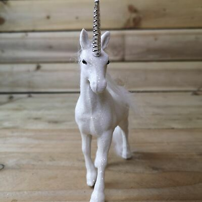 Snow Time White Glittery Standing Unicorn Ornament Christmas Decoration