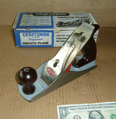 "Vintage Craftsman Smooth Plane in Box,9"",No.3742,Bro to Stanley No.4,Tool,USA,BL"