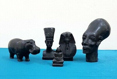 Egyptian Handmade Antiques Collection Beautiful Black Figurines Stone Sculptures