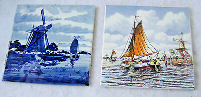 Vintage Hand Painted Ceramic Tiles of Holland / Boats and Windmills - LOT OF 2