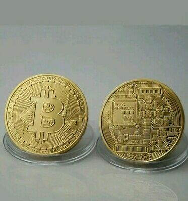 New Bitcoin Physical Collectible Coin BTC Gold Plated 1 Ounce 40mm - UK STOCK