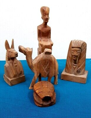 Beautiful Collection Egyptian Antiques Statues Handmade Wooden Figures Amulets