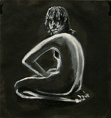 YARY DLUHOS ORIGINAL OIL PAINTING Nude Black And White Woman Girl Figure Study