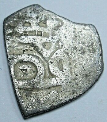 1700s Spanish Mexico Silver 1/2 Reales Piece of 8 Real Colonial Pirate Cob Coin