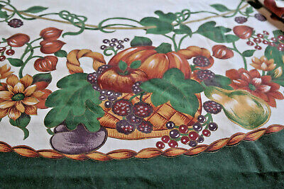Vintage Fall Thanksgiving Tablecloth Fruits Leaves Mums Vines Basket Weave