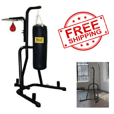 Dual Station Heavy Punching Bag Boxing Stand MMA Trainer Fitness Gym