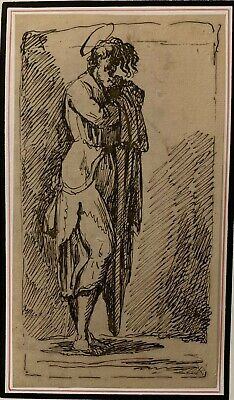 Fine Italian 18Th Century Old Master Ink Drawing - Portrait Of A Saint