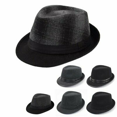 Unisex Mens Women Black Classic Faux Leather Trilby Hat Fedora Vintage Style