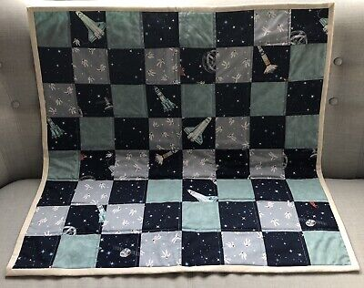 Handmade Baby Quilt/blanket- Unique Made With Cotton, Green & Blue Space Rockets
