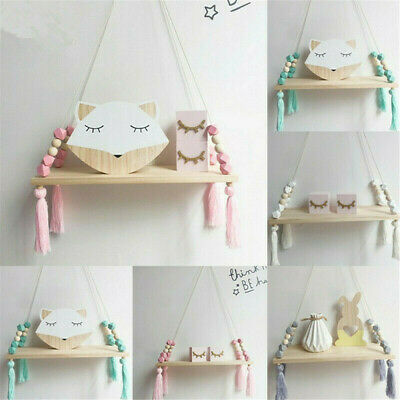 Wooden Nordic style hanging fringed bead storage wall shelf children's bedroom