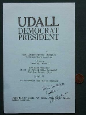 1976 Bowling Green,Ohio Mo Udall for President signed campaign brochure-Died 98*