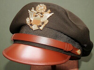 "US Army AAF WW2 PILOT BANCROFT FLIGHTER CHOCOLATE WOOL ""50 MISSION"" CRUSH CAP"