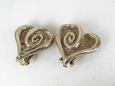 Vintage Sterling Silver Heart Mexico Clip On Ladies Earrings 19.9g