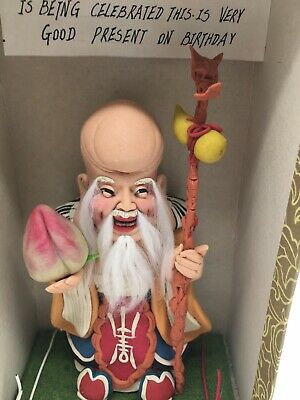 Vintage Chinese Statue Old Man God Of Longevity Carved Out Of Clay