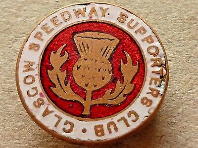 VINTAGE GLASGOW SPEEDWAY SUPPORTERS CLUB ENAMEL BADGE FATTORINI & SONS c1940's?