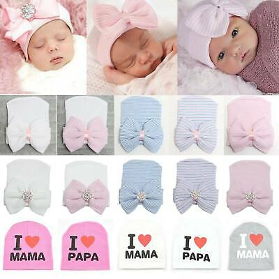 Newborn Baby Infant Girl Pink Bowknot Diomand Hospital Cap Beanie Hat Boy Unisex