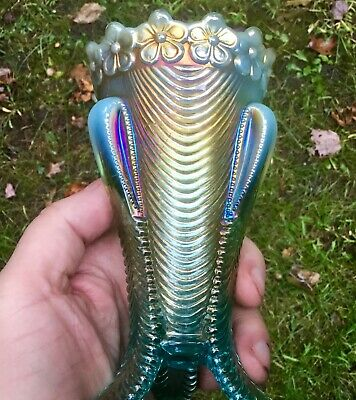Carnival Awesome Northwood Aqua Opalescent Daisy And Drape Flared Vase